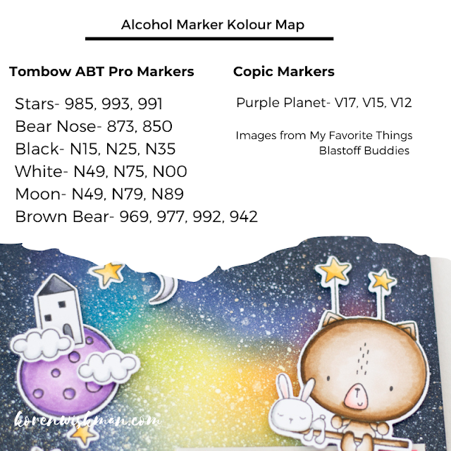 my favorite things, blastoff buddies, koren wiskman, stamping, card making, die cutting, ink blending, galaxy background, ranger distress oxide ink, shimmer spray, alcohol markers, copic, tombow