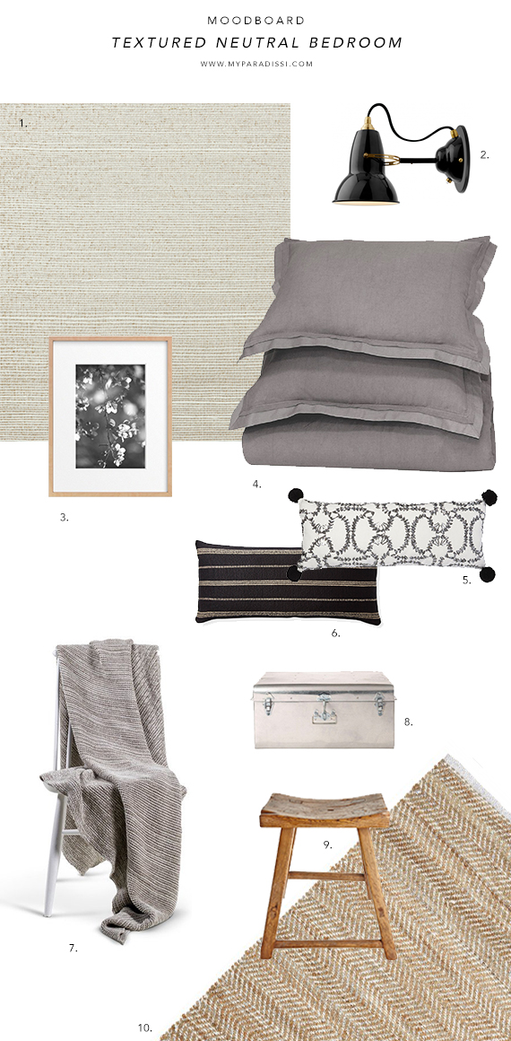 Textured neutral bedroom moodboard by My Paradissi