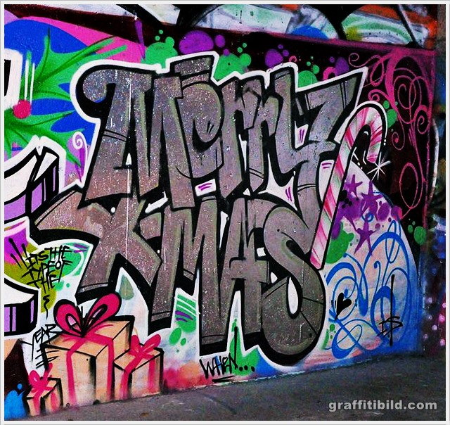 Weihnachten, straßenkunst, graffiti, merry christmas street art