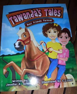 Cover of Tawanda's Tales: Best Friends Forever, with an illustration depicting two girls on a light brown horse. Both girls have brown hair, one very curly and one straight and in a ponytail.
