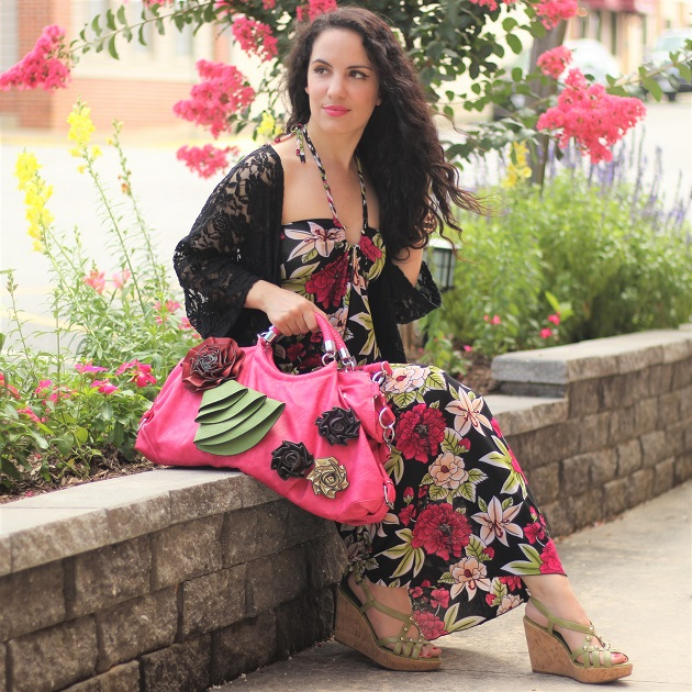 Black and Pink Floral Print Maxi Dress