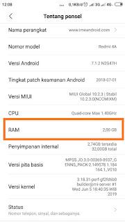 Cara cek ram Xiaomi dan Memori