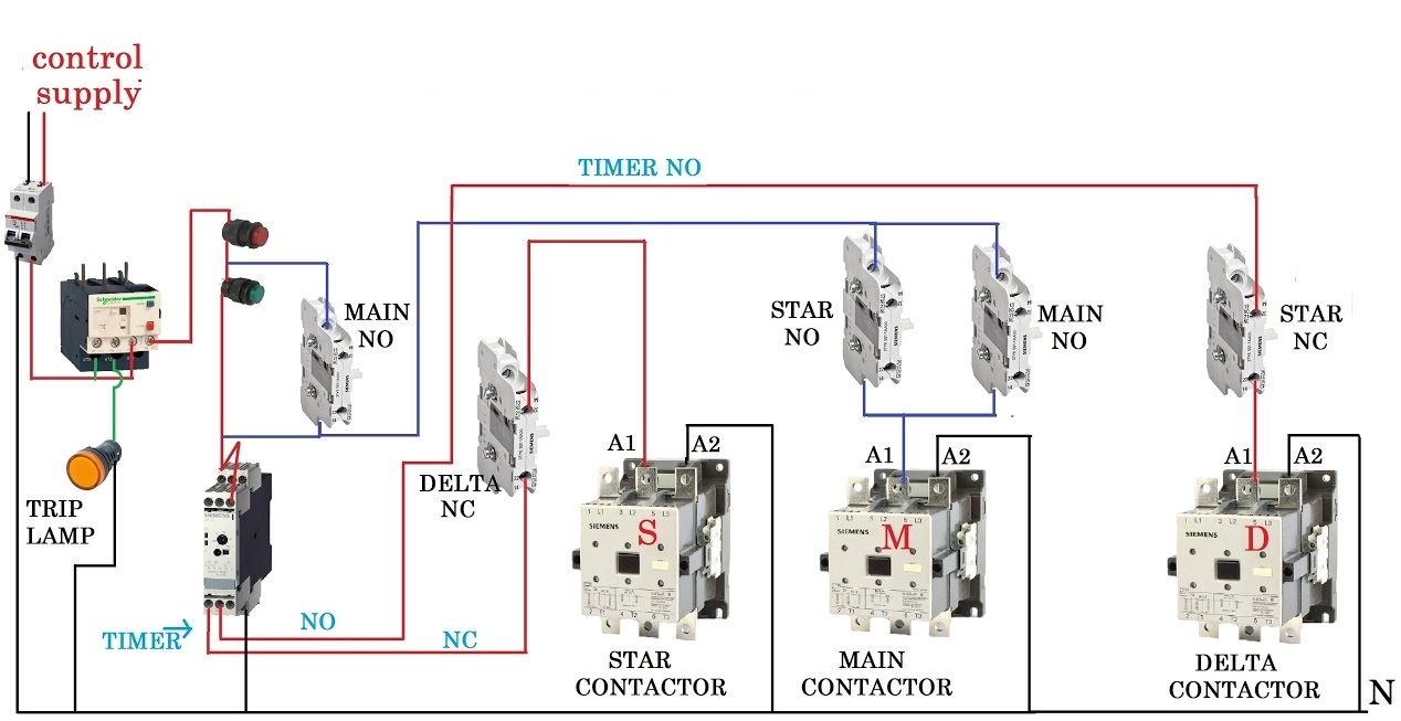 Automatic Star Delta Starter with Timer Wiring & Installation Diagram