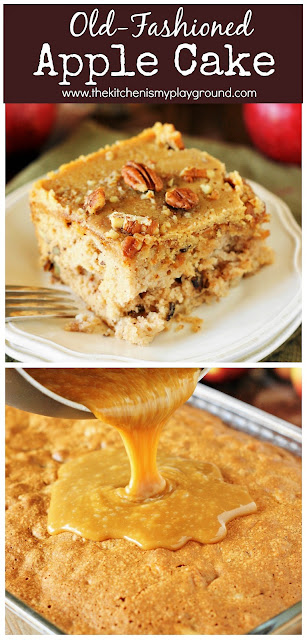 Old-Fashioned Apple Cake ~ Loaded with fresh apples, iced with boiled caramel topping, & studded with crunchy pecans, this is one stunningly delicious apple dessert. #applecake #appledessert #applerecipes  www.thekitchenismyplayground.com