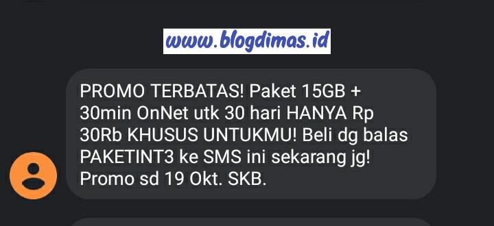 Paket 15GB 30Min OnNet 30Ribu