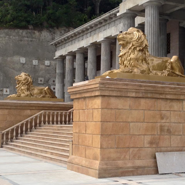 lions guarding the entrance at Temple of Leah
