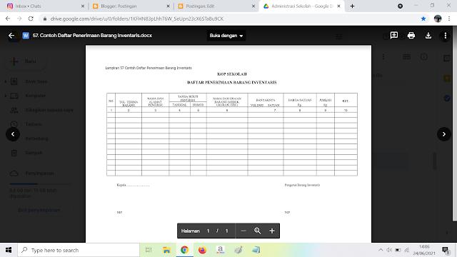 Contoh Format Daftar Penerimaan Barang Inventaris