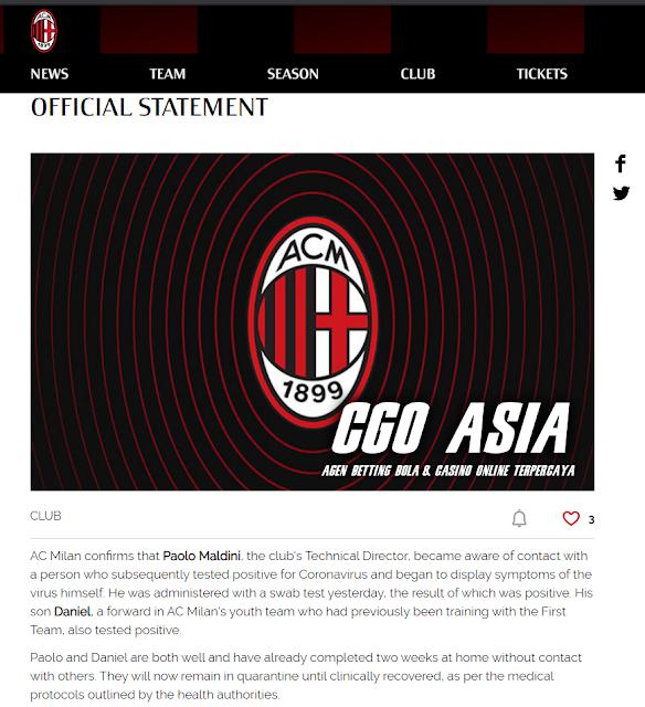 Penderita virus corona pertama di klub AC Milan : Ayah-anak Maldini.- Rumahsport.com