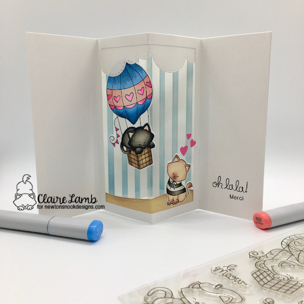 Oh la la by Claire features Newton Dreams of Paris, Frames & Flags, Land Borders, and Sky Borders by Newton's Nook Designs; #inkypaws, #newtonsnook, #cardmaking, #catcards