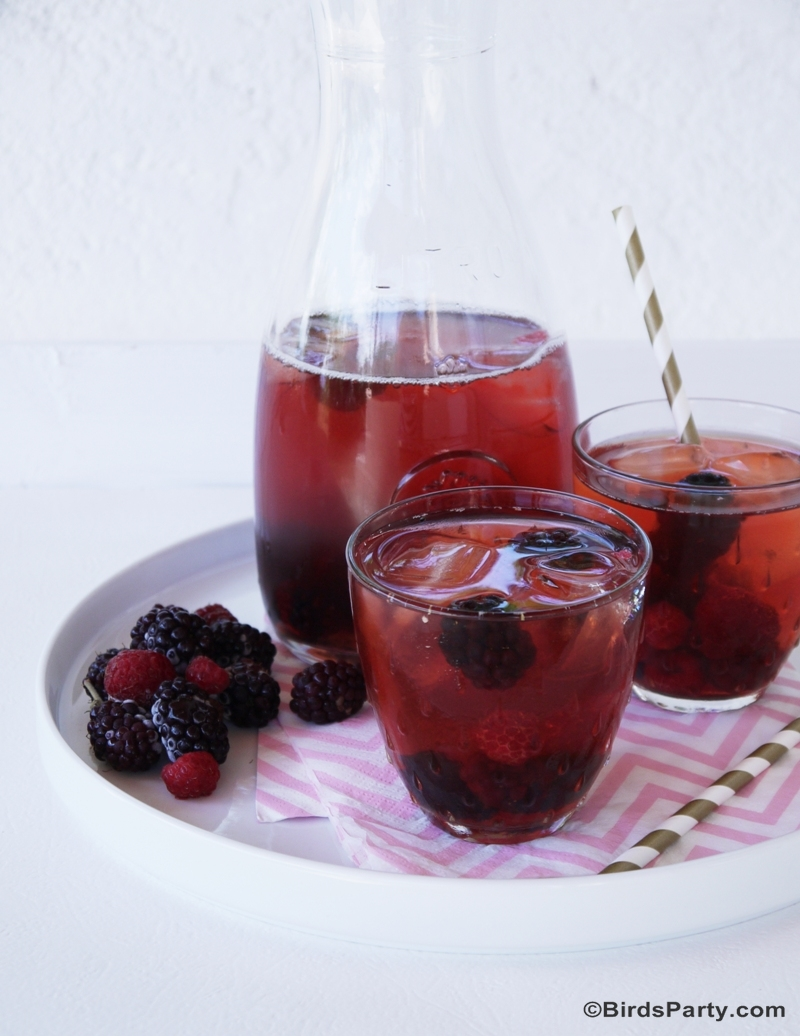 Red Berries Healthy & Skinny Iced Tea Recipe - BirdsParty.com