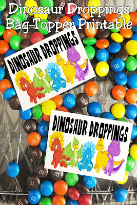 Add a little fun to your dinosaur party with these fun printable bag toppers.  These Dinosaur Droppings are perfect when filled with your favorite candy to use as party favors or party treats on your dessert table.  #dinosaurparty #bagtopper #diypartymomblog