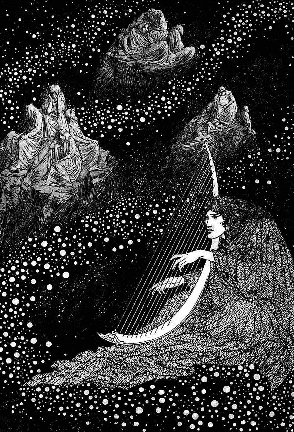 a Sidney Sime illustration of a harpist in the sky