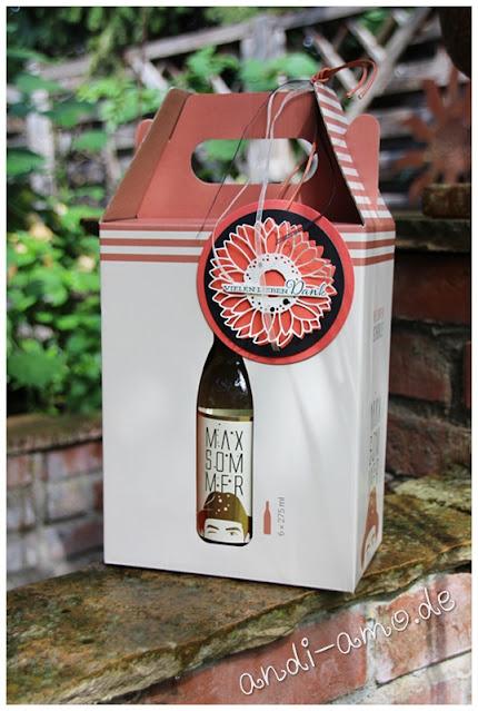 Anhänger für Wein-Geschenk mit Sonnenblume Stampin Up