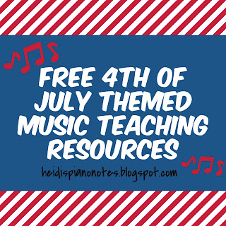 Free 4th of July Themed Music Teaching Resources for  piano teachers heidispianonotes.blogspot.com
