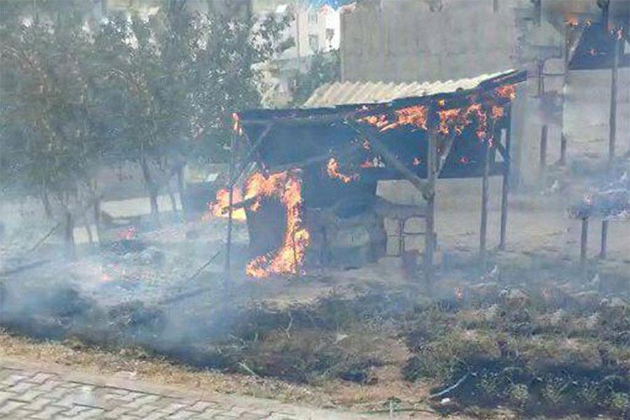 Diyarbakır Şehitlik'te 3 ton kışlık odun yangında kül oldu