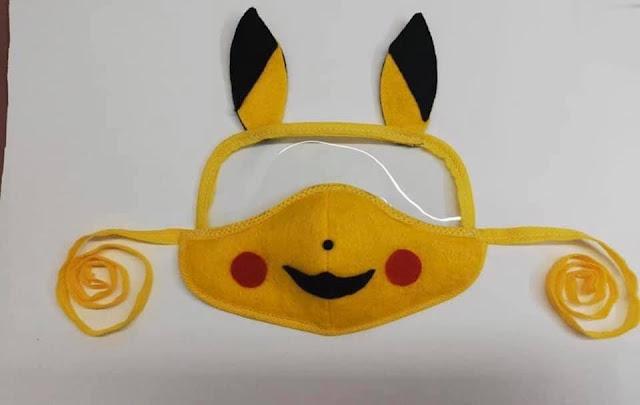 Máscara de Proteção Infantil Com Viseira do Pikachu