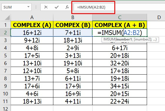 How to ADD Complex Numbers in Excel