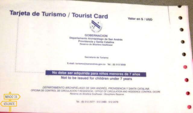 Cartão de turismo San Andres