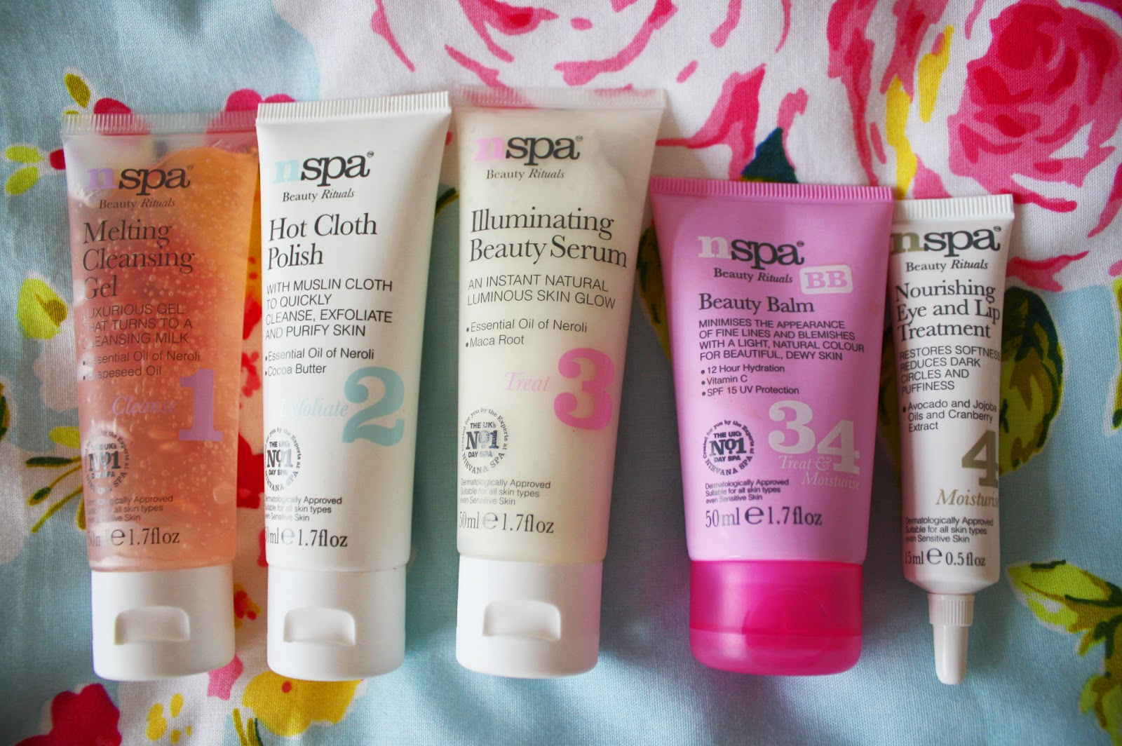 An array of skincare products from the NSPA collection