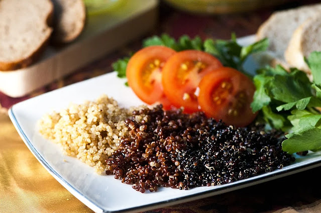 red, white, and black quinoa