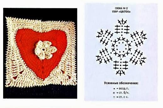 colcha, motivos, corazones, crochet, ganchillo, patrones