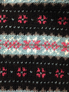 Fair isle knitting - 1940s pattern in teal, pink, grey, black and white
