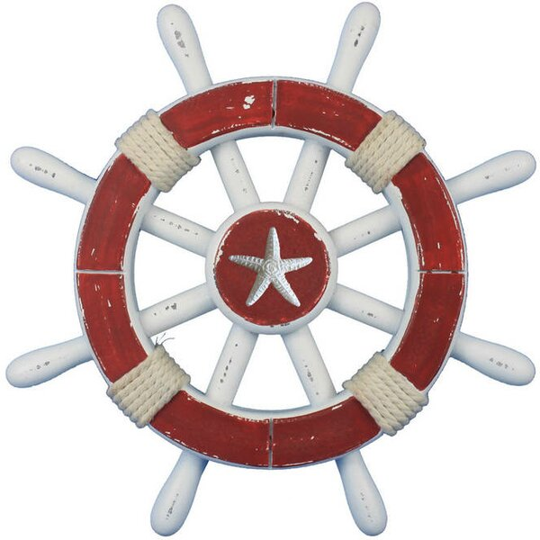 Ship Wheel with Starfish Wall Decor