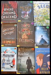 9 books lined up. From left to right and then down: Where Dreams Descend, Broken Wish, Starting & Saving Seeds, Deception by Gaslight, These Violent Delights, Murder on Cold Street, Mistletoe & Mr. Right, A Ritchie Boy, and The Heir Affair