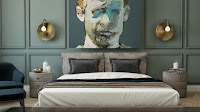 Accent wall for bedroom with abstract face paint gold sconces laurel green wall panels