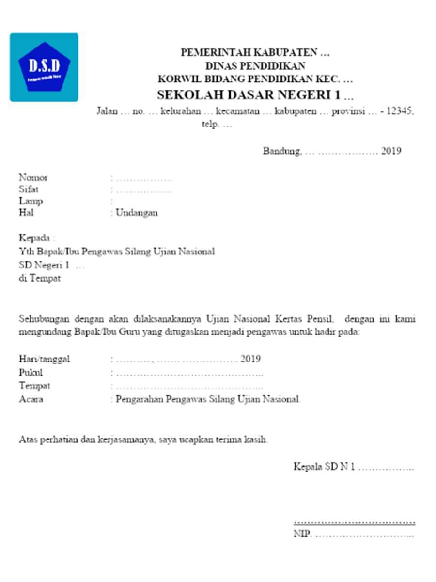 undangan sosialisasi teknis ujian nasional untuk pengawas silang