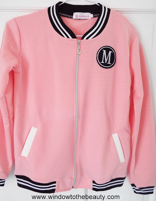 zaful Letter Badge Patched Zip Up Jacket - Pink L