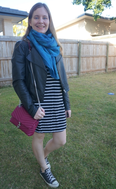 black and white stripe tee dress, converse and leather jacket outfit with magenta pop of colour bag and cobalt skull scarf | awayfromblue