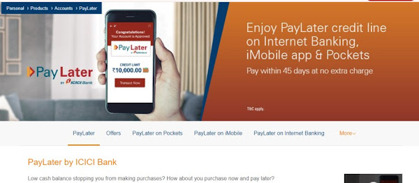 Pay later by ICICI Bank