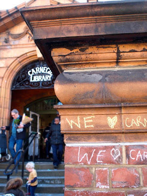 So much love for Carnegie Library, Herne Hill - closed down by Lambeth council, occupied by its users