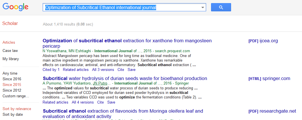 Optimization of Subcritical Ethanol international journal