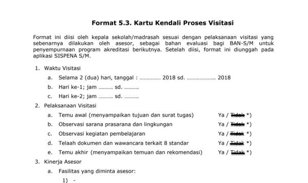 Format Kartu Kendali Proses Visitasi Akreditasi Sekolah