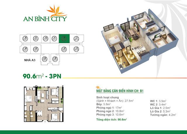Mặt bằng căn hộ điển hình dự án An Bình City