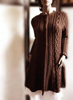 Saç Örgüsü Modelli Uzun Hırka Örme