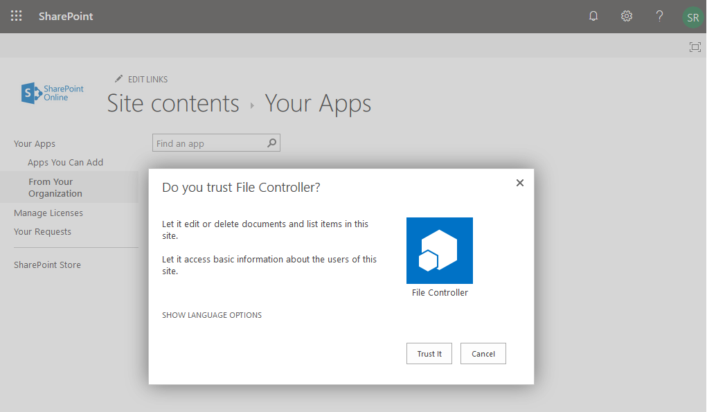 add an app to site in sharepoint online