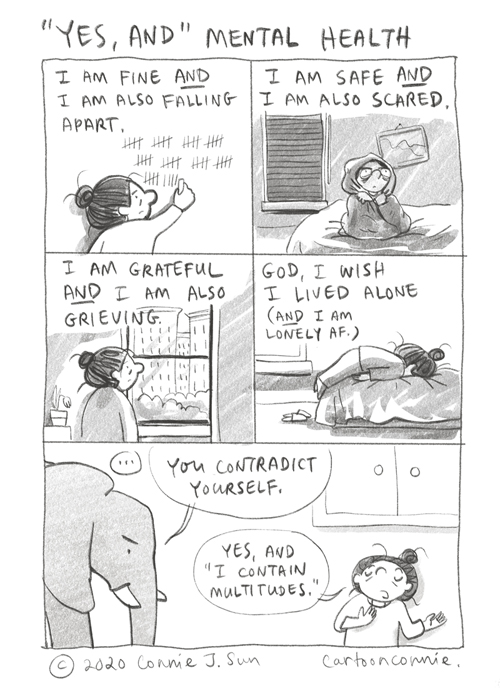 comic strip, cartoon about mental health in a pandemic, contradictory complex emotions, and forgiving ourselves, sketchbook, drawing, connie sun, cartoonconnie, walt whitman quote