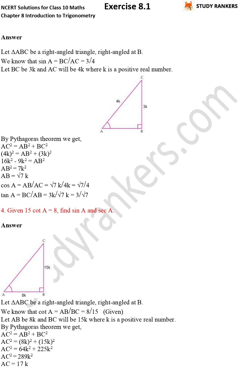 NCERT Solutions for Class 10 Maths Chapter 8 Introduction To Trigonometry Exercise 8.1 Part 2