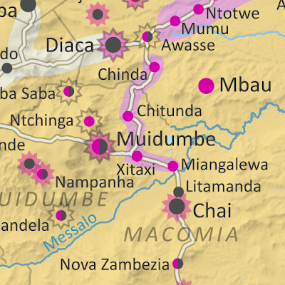 Mozambique: Cabo Delgado conflict map - July 2021: Detailed, close-up control map showing areas occupied by so-called ISIS-linked rebels in northern Mozambique (also known as Ahlu Sunnah Wa Jama, ASWJ, Ansar al-Sunnah, or Al Shabaab), plus towns and villages raided by the insurgents over the past eight months. Shows roads, rivers, and terrain, and includes key locations of the insurgency such as Palma, Mocímboa da Praia, Awasse, Diaca, the Total LNG site and natural gas fields, Muidumbe, Pangane, Quionga, Mitope and many more towns and villages. Updated to July 29, 2021. Colorblind accessible.