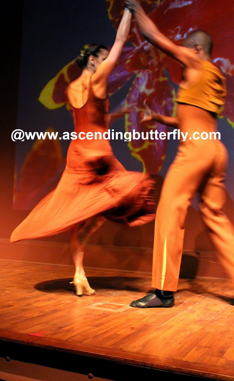 Ballet Hispanico BHdos dancers in motion performing a Cha-Cha-Cha