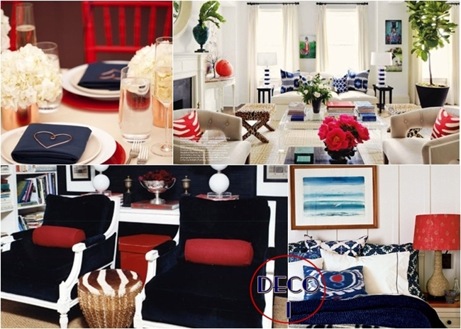 best red and blue color combination home decor inspiration