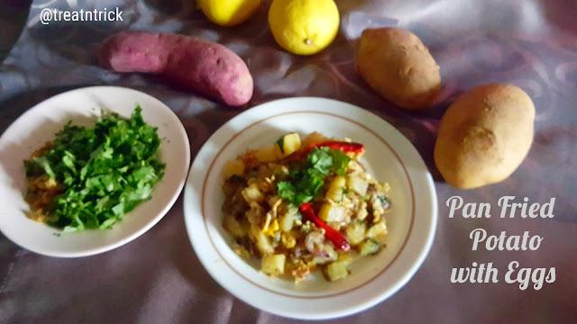 Pan Fried Potato with Eggs Recipe @ treatntrick.blogspot.com