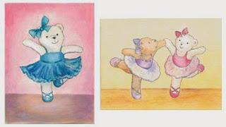 Tanssivia nalleja, kuva kahdesta postikortista