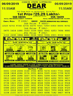 Sikkim State Lottery Dear Valuable Results 07 September 2019