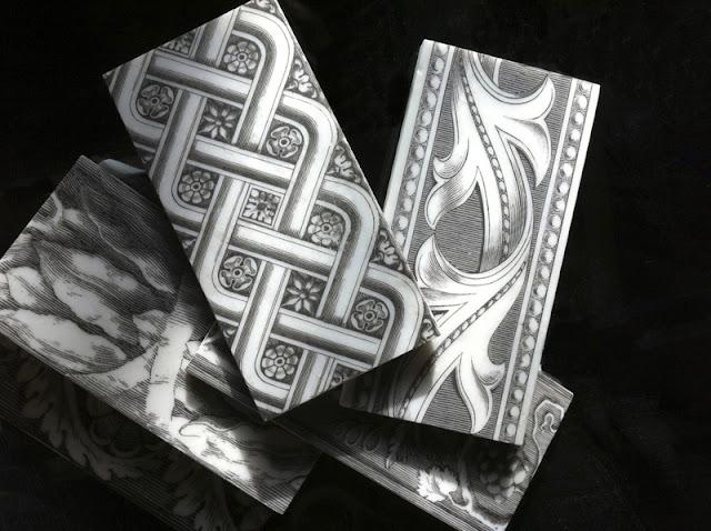 Black and white listello pile