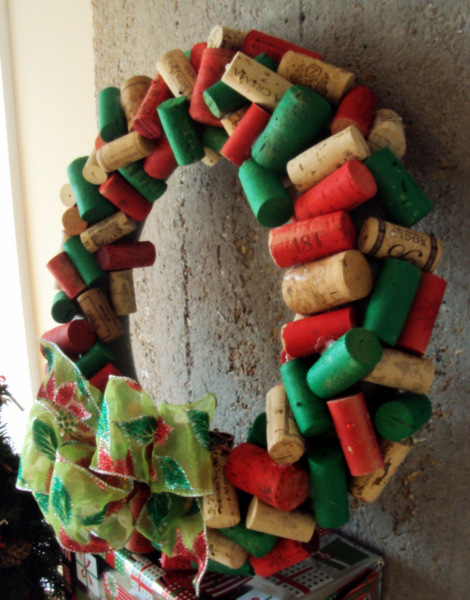 This festive wine cork wreath is a fun DIY project for the holidays