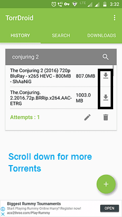 Torrent download options